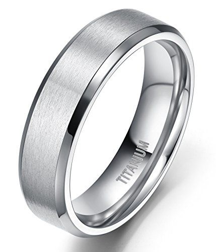 6mm Uni Anium Ring Flat Matte Brushed Beveled Edge Wedding Band Comfort Fit Size 4 13 9 Ideas