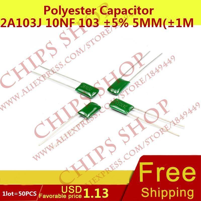 1lot50pcs Polyester Capacitor 2a103j 10nf 103 5 5mm1mm 100v Dip