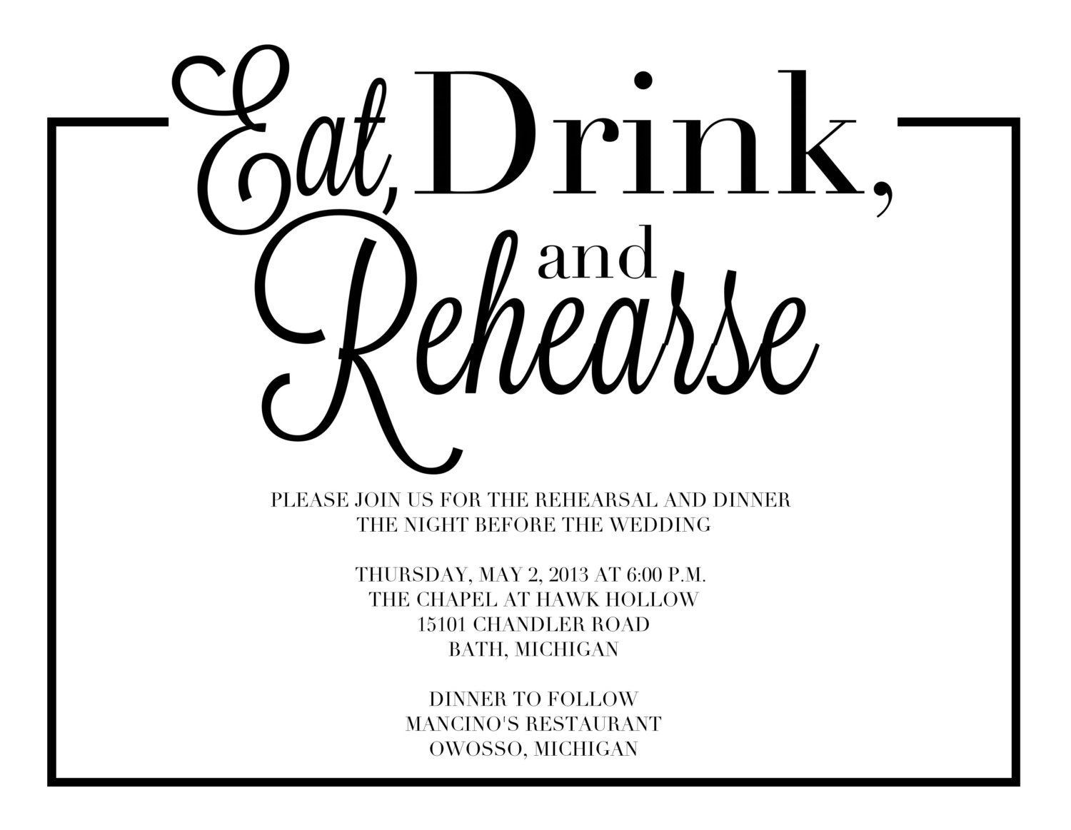 Rehersal Dinner Invites Wedding Rehearsal Dinner