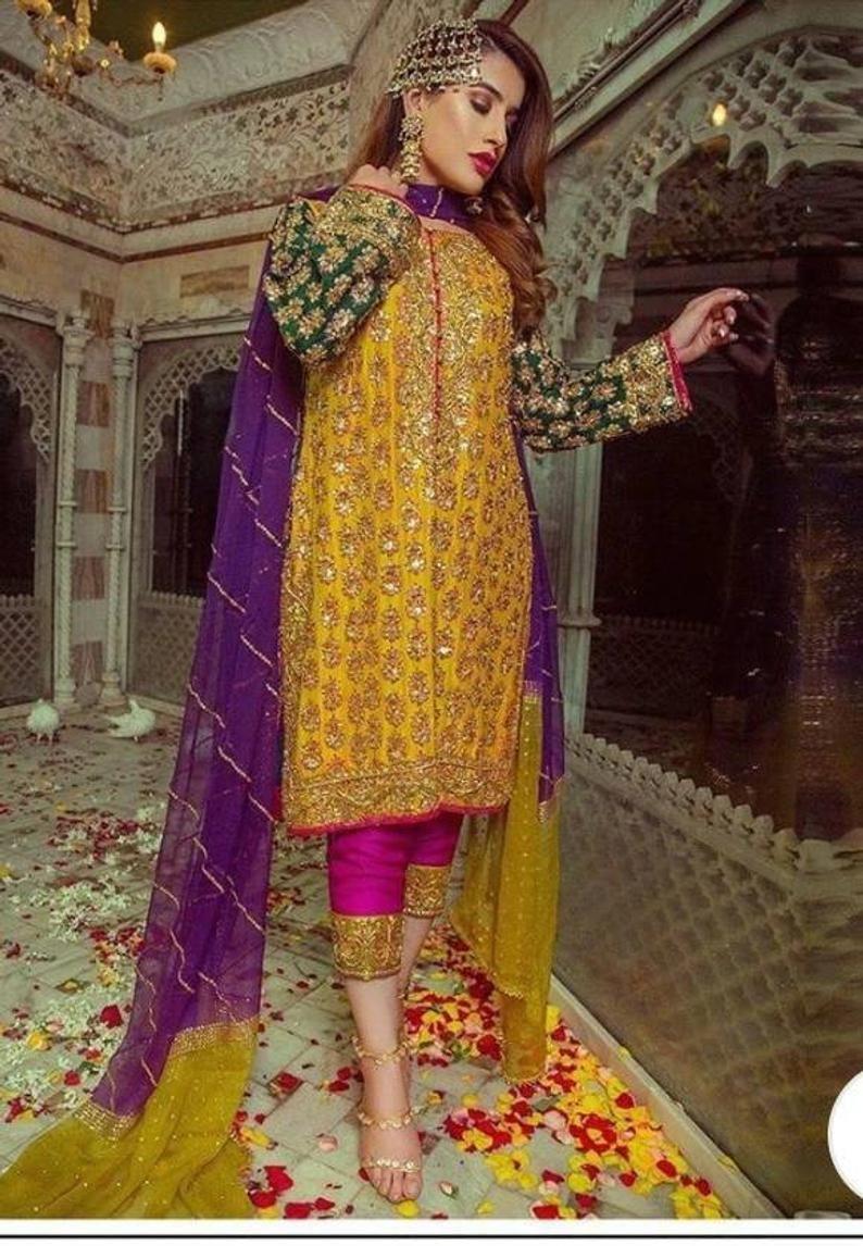 Pakistani salwar kameez chiffon embroidered dress
