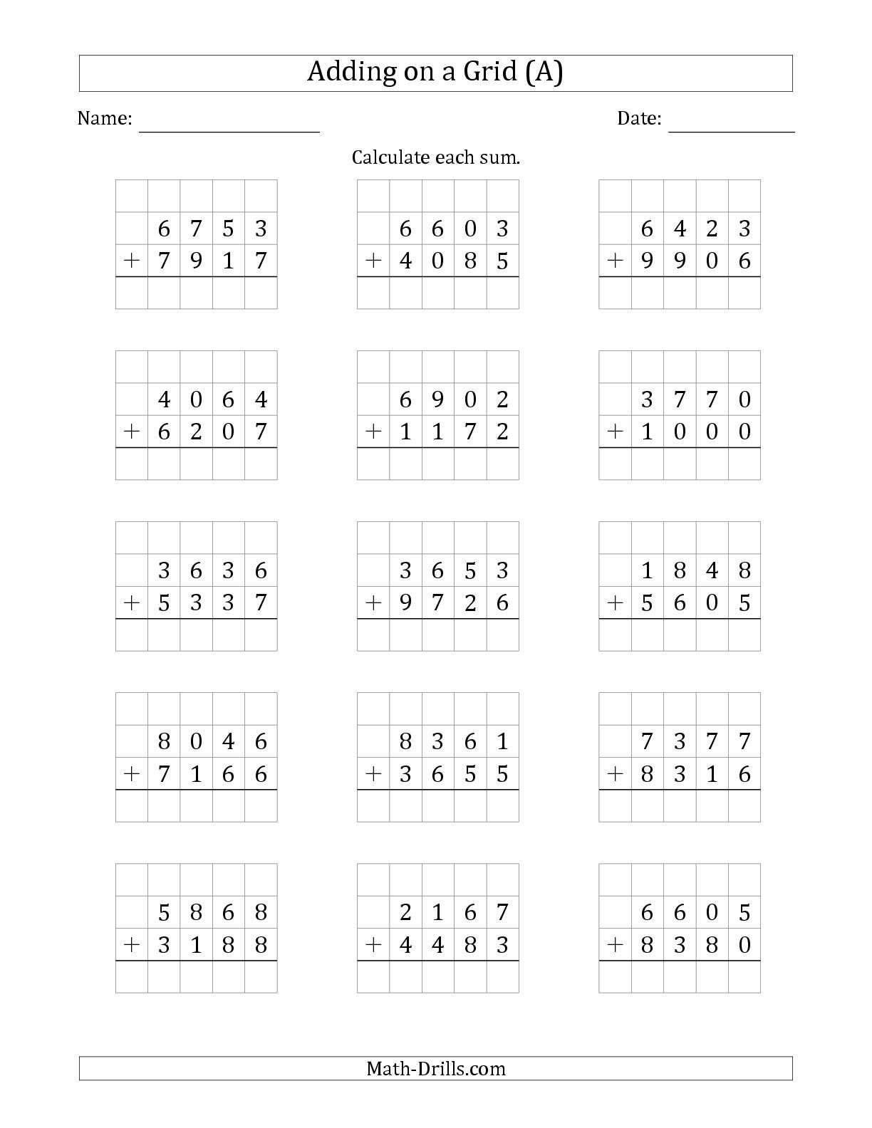The Adding 4 Digit Plus 4 Digit Numbers On A Grid A Math Worksheet