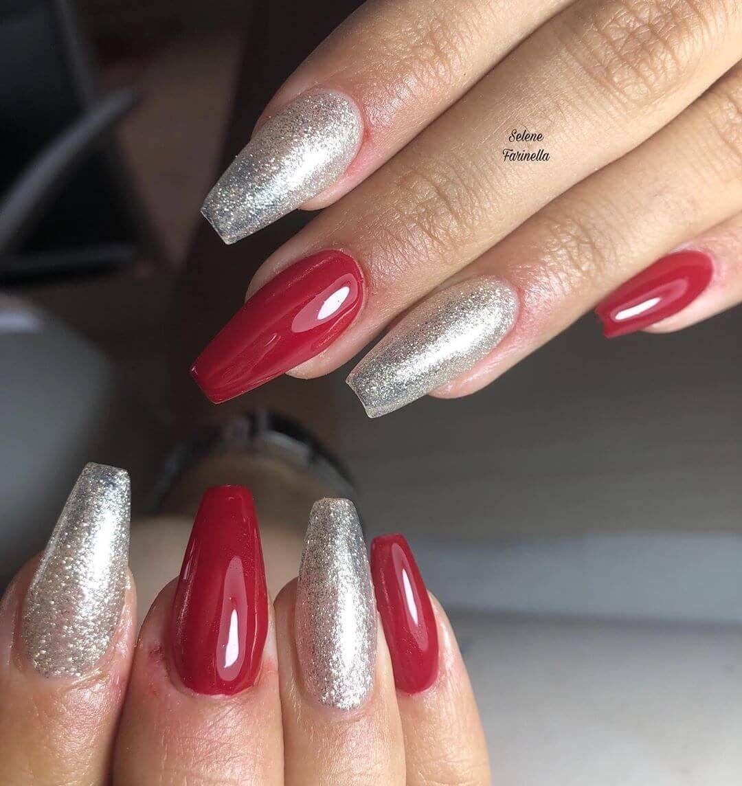 Unas Decoradas Plata Con Rojo