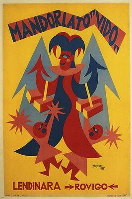 ALMOND VIDO VINTAGE AD POSTER BY FORTUNATO DEPERO ITALY 1924 24X36 UNIQUE HOT