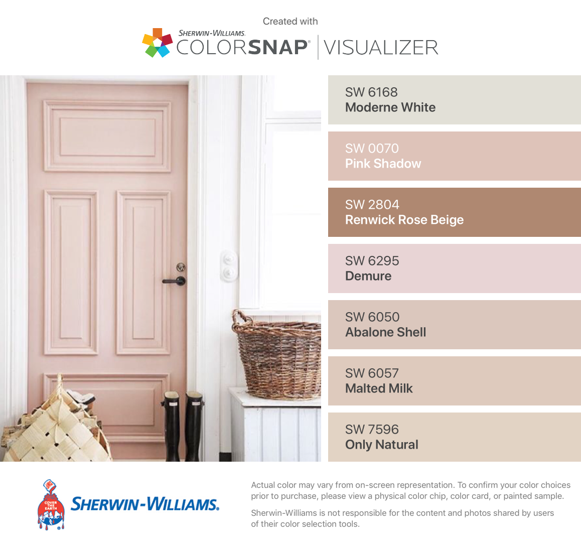 I Found These Colors With Colorsnap Visualizer For Iphone By Sherwin Williams Moderne White Sw 6168 Pink Shadow 0070 Renwick Rose Beige 2804