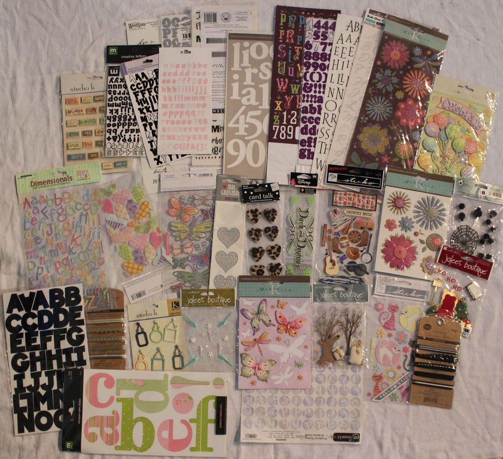 Huge Lot 33 Pkgs Scrapbooking Stickers Brads Ribbons Jolee's Boutique Etc #JoleesBoutique #Mixed