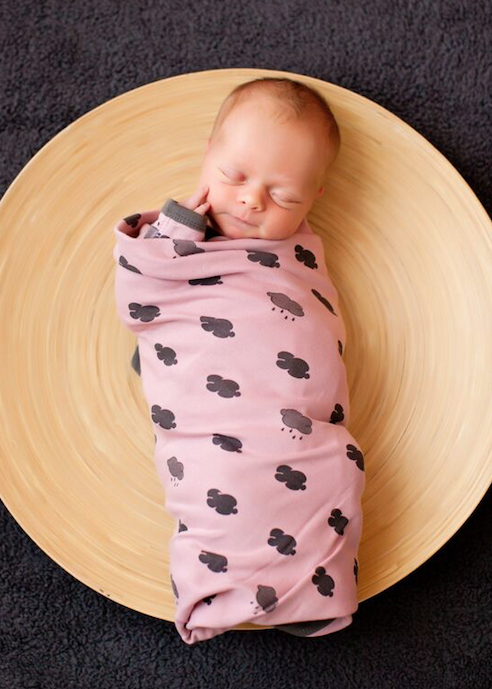 L'ovedbaby Mauve Clouds Swaddle Blanket Organic