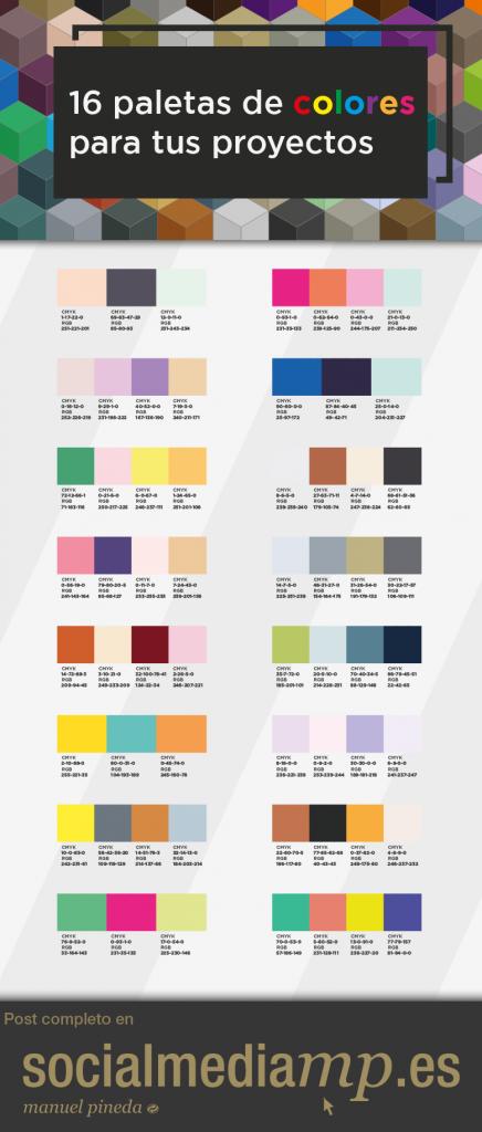 16 Paletas De Colores Para Tus Proyectos Socialmediamp Es Paletas De Colores Paleta De Colores Web Paletas
