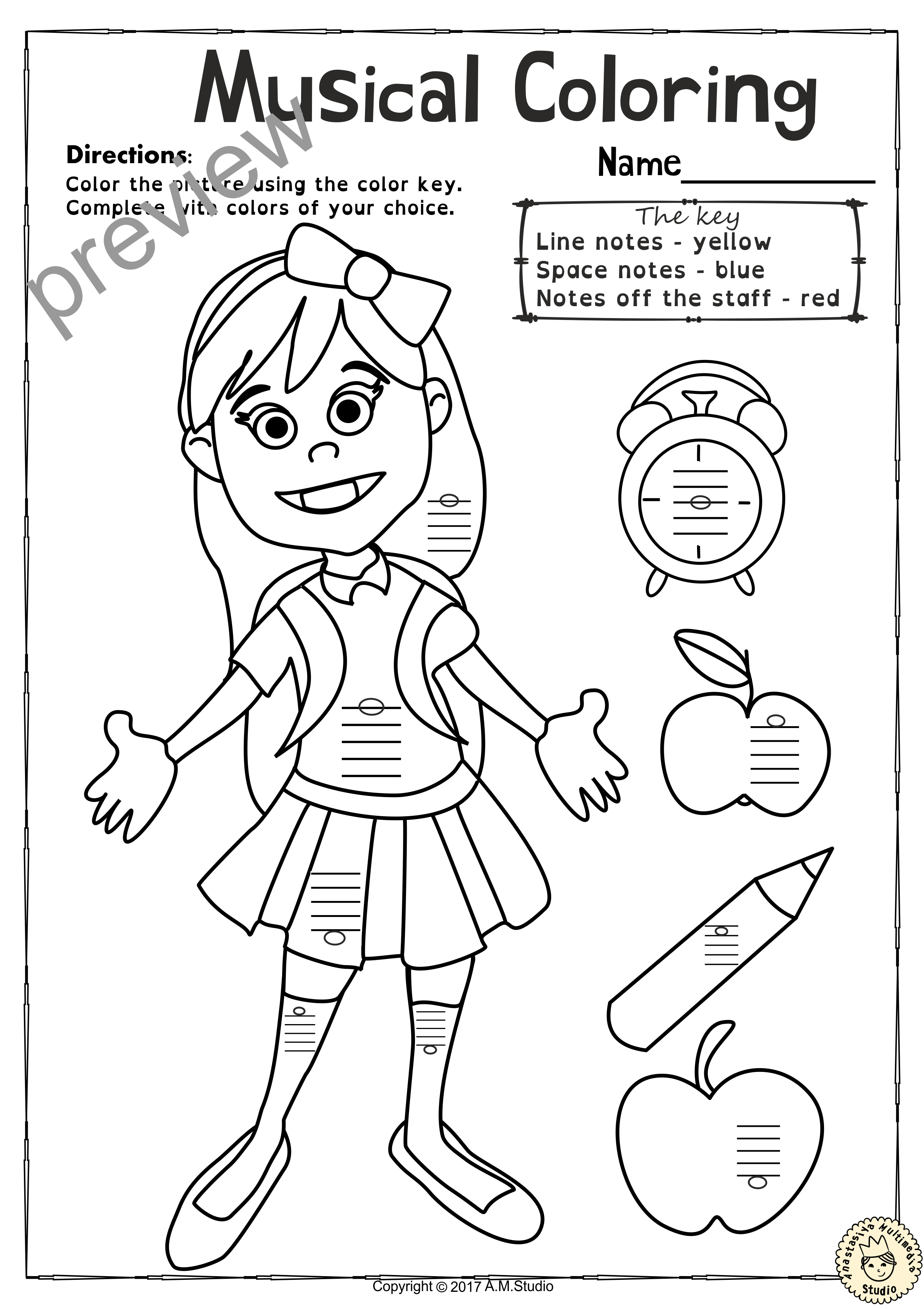 Back To School Music Worksheets Pack Line Space High Low