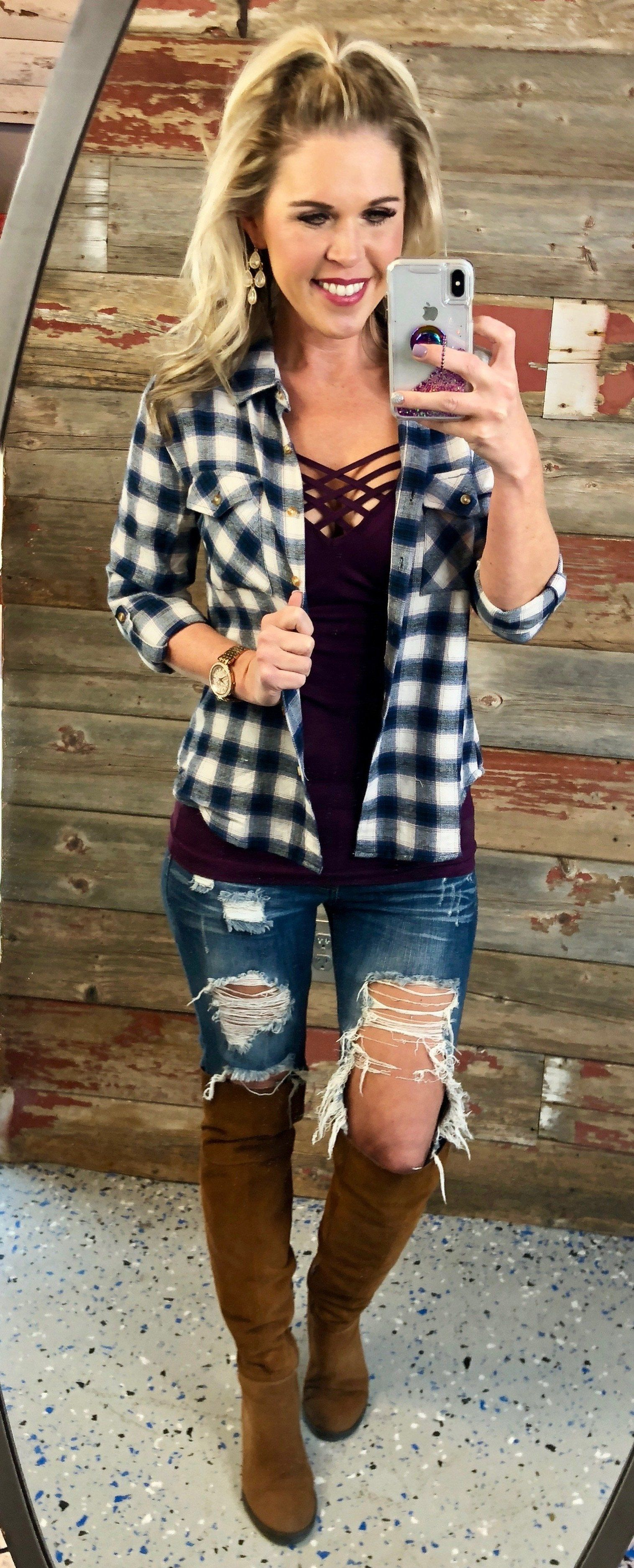 Flannel shirt outfits for women  Cabin Fever Plaid Flannel Top from privityboutique  style inspo