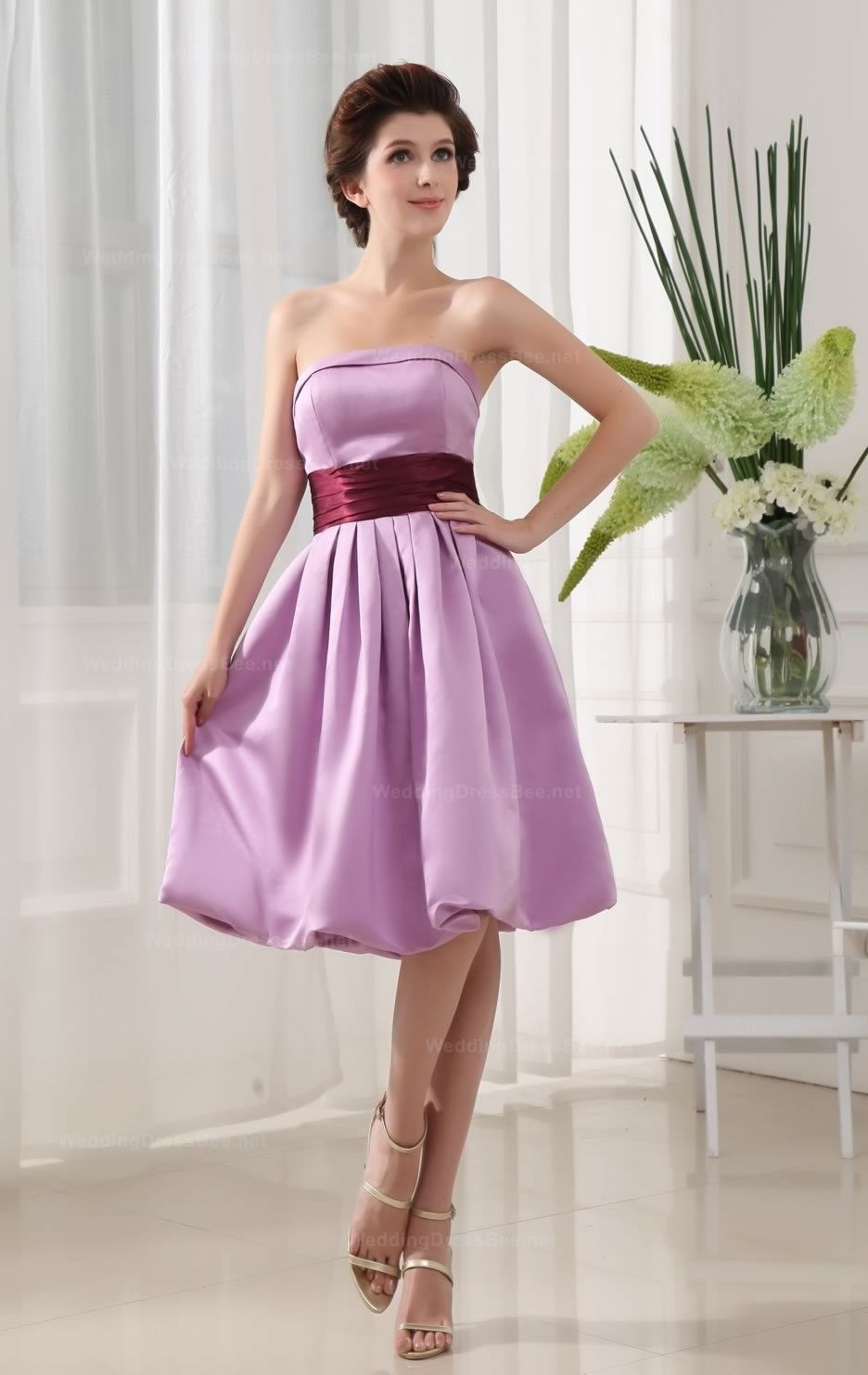 Strapless+With+Empire+Waist+Full+A-Line+Knee-Length+Dress+For+Bridesmaids $128.98