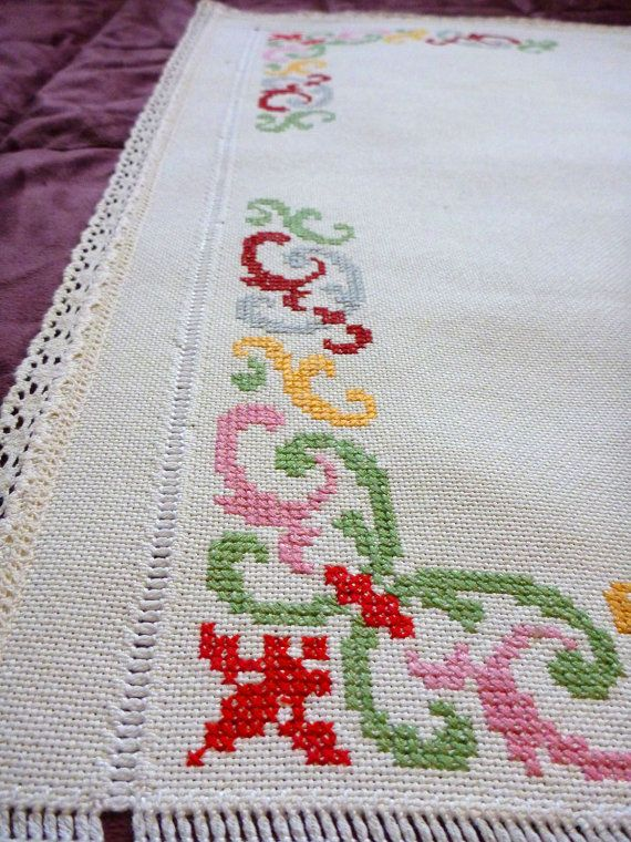 Vintage Cross Stitch Embroidered Tablecloth Card Tablecloth Kitchen Decor Table Topper