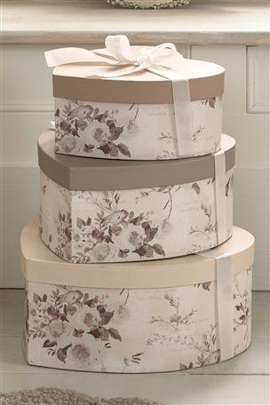 Decorative Boxes Uk Set Of 3 Heart Ribbon Boxes …  Pinteres…