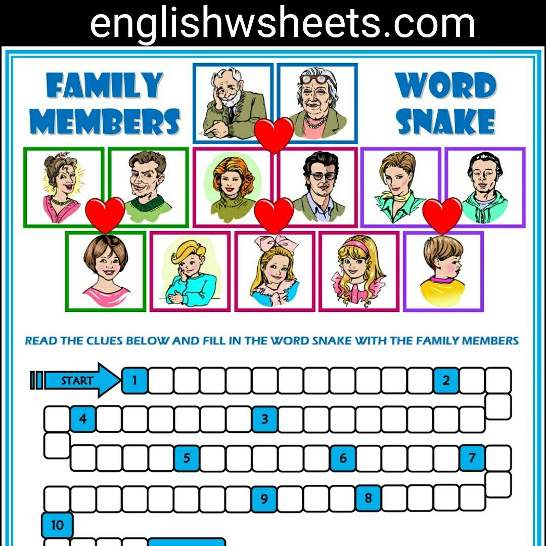 Family Members Esl Printable Word Snake Puzzle Worksheet