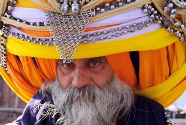 The whole process takes about two hours every morning.  How to Put On a 200 Pound Turban | Mental Floss