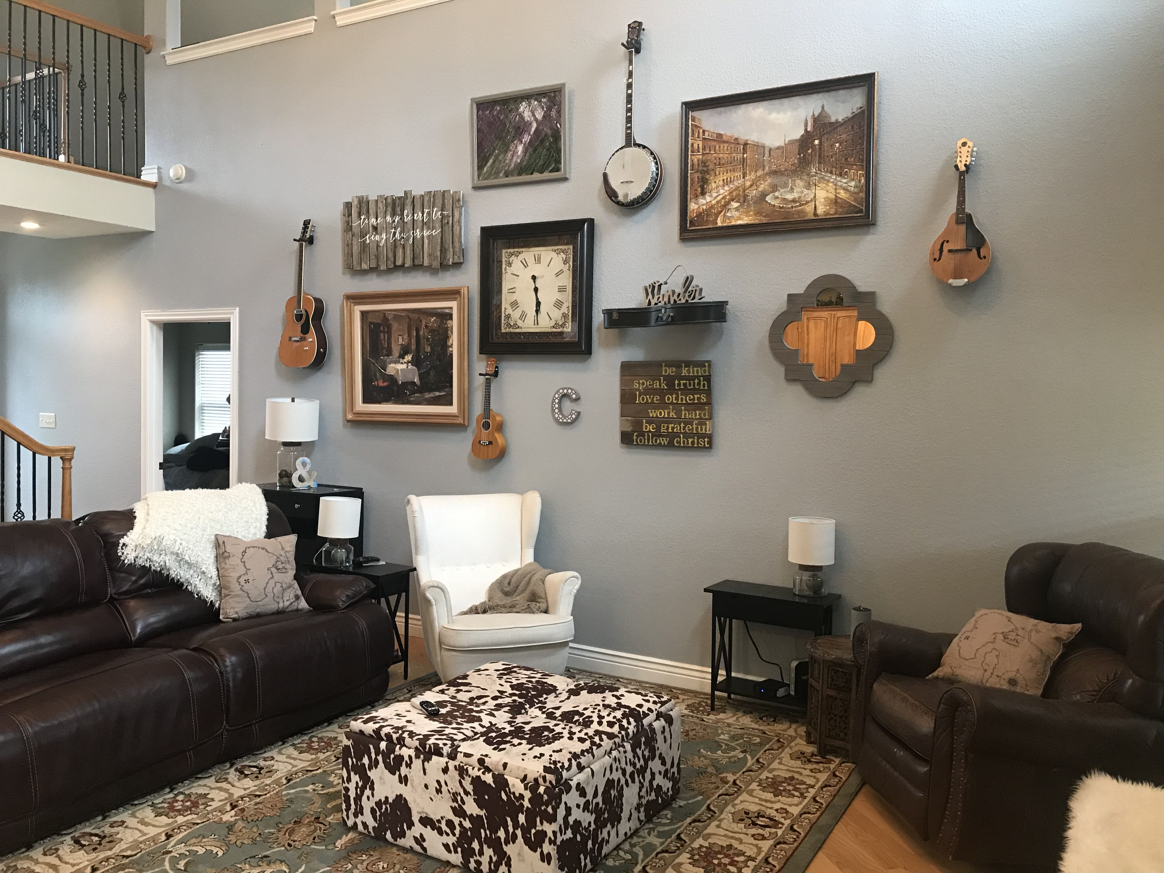 Collage Wall With Instruments Living Room Decor Behr