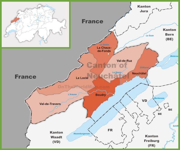 Canton of Neuchtel district map Maps Pinterest Switzerland