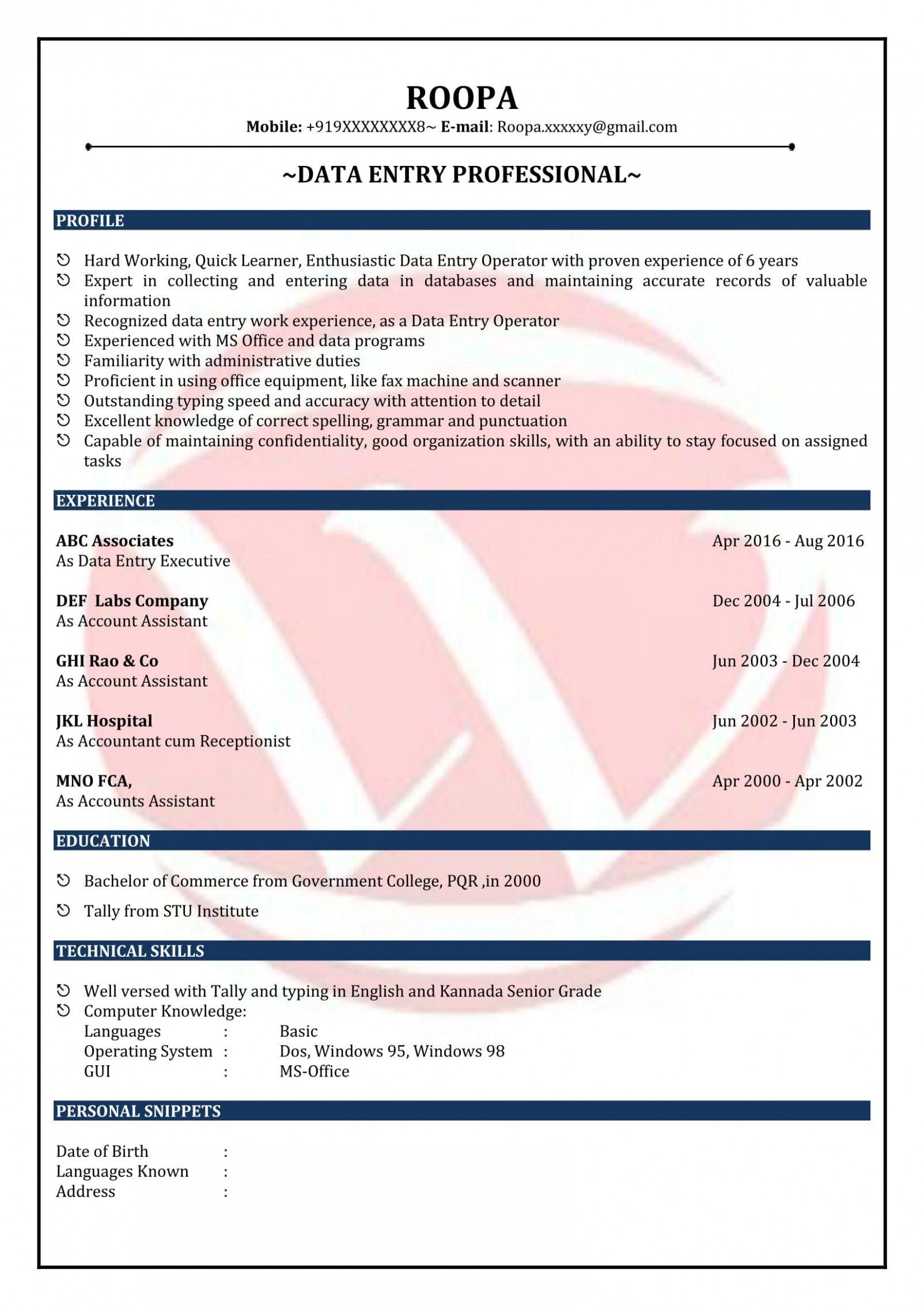 data entry specialist job description for resume