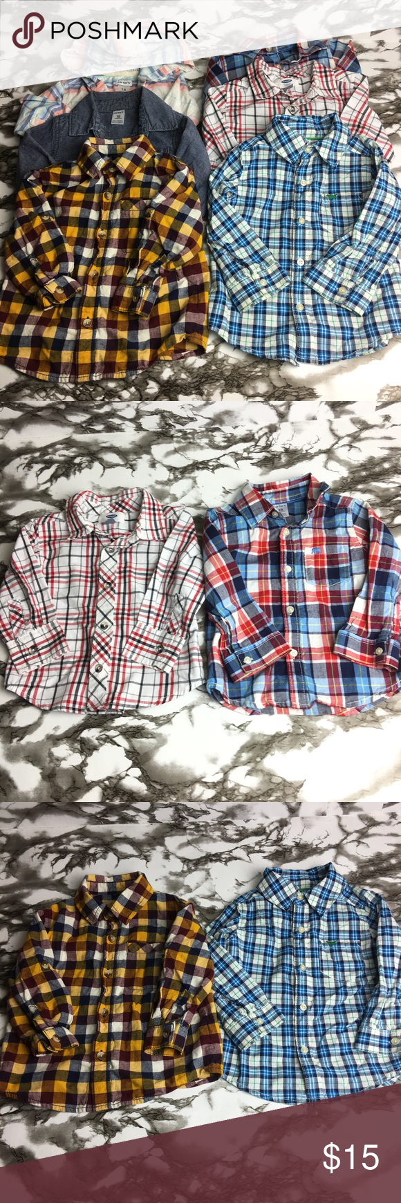2a229b06 Infant toddler boy Button Down Long sleeve shirts Lot of 6 Infant / toddler  boys 18