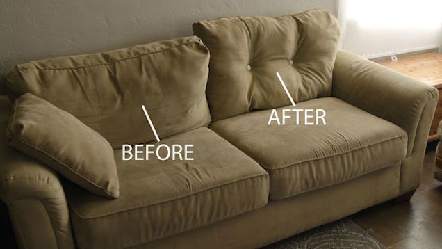 Plump Up Saggy Couch Cushions With Just A Few Buttons Fix Sagging Couch Couch Makeover Couch Cushions
