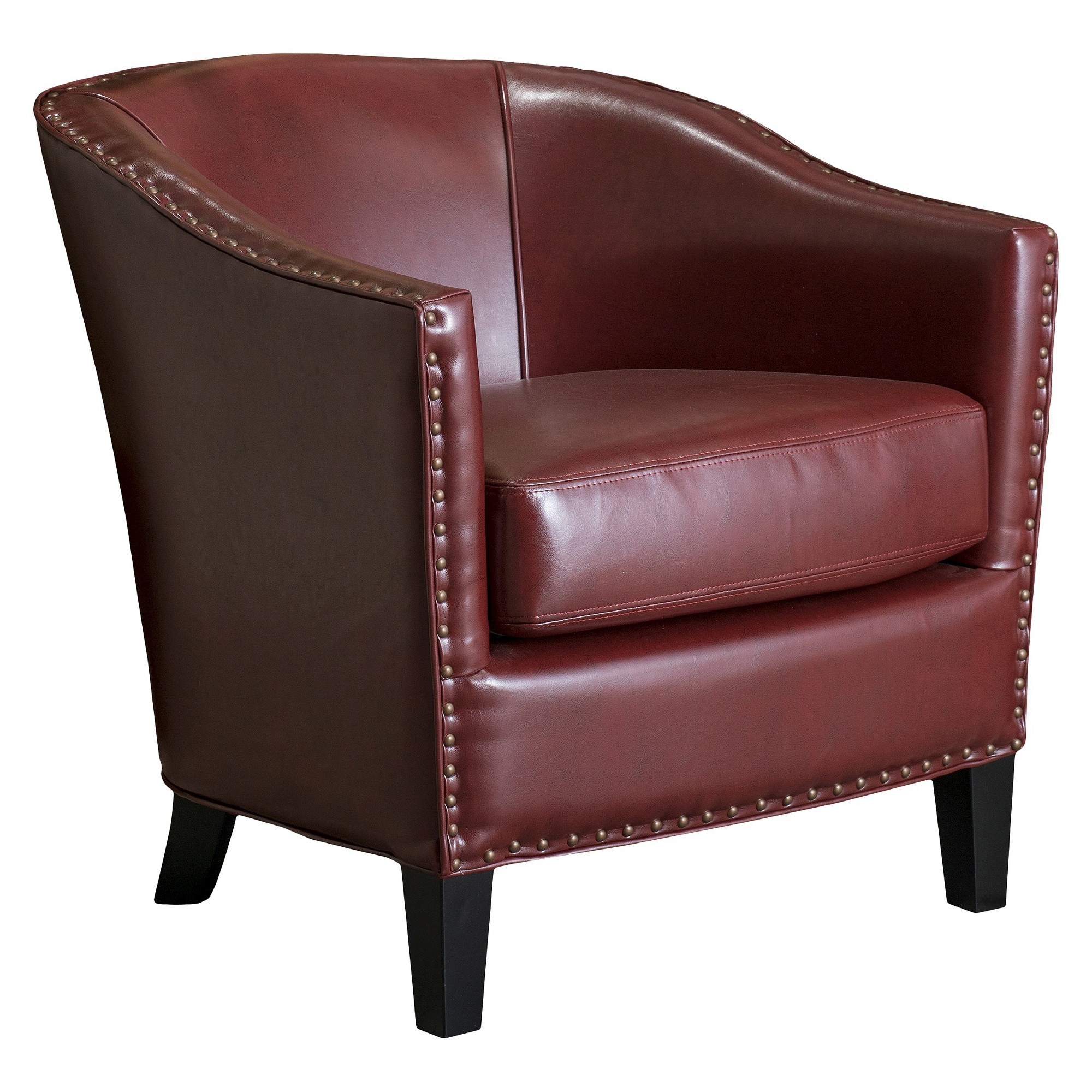 Austin oxblood leather club chair red christopher knight