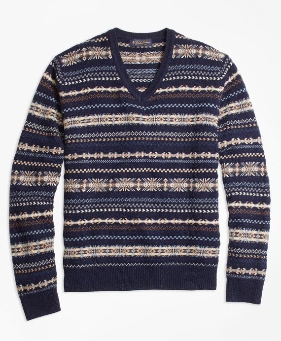 Heritage Fair Isle V-Neck SweaterNavy | Wardrobe | Pinterest ...
