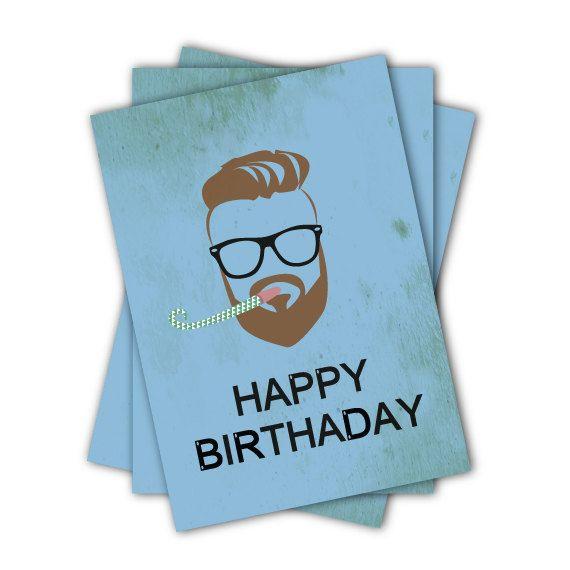 Happy Birthday Hipster Birthday Card By Jacobydesign On Etsy Unique Birthday Cards Hipster Birthday Birthday Cards