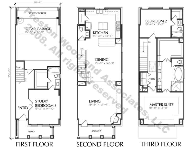 Townhouse plan d5214 2383 townhouse zen design and for Three story townhouse floor plans