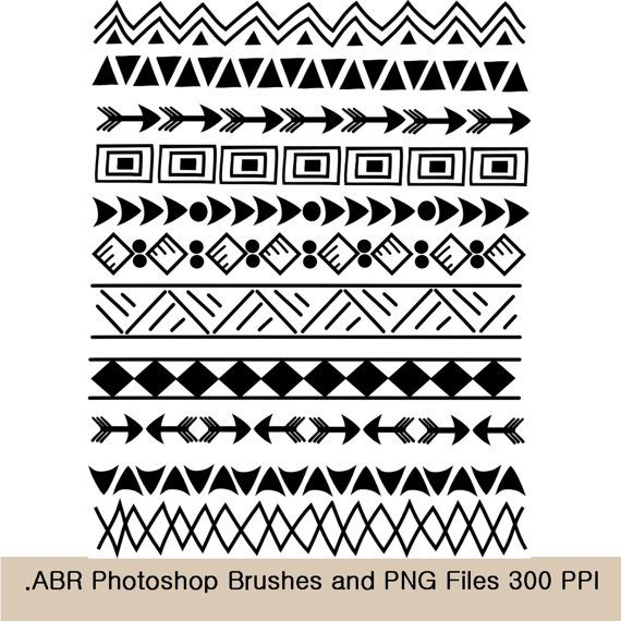 Photoshop Brushes and clip art borders, Indian, tribal 8.5 ...
