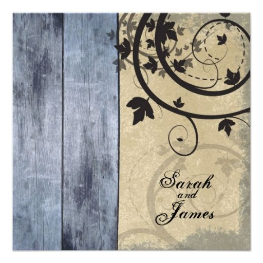 Vintage Fall Wedding Invitation Blue Barn Board