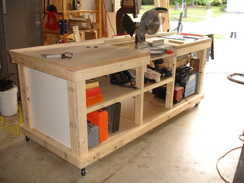 Workbench with inset areas for miter table saw diy for Table saw workbench woodworking plans