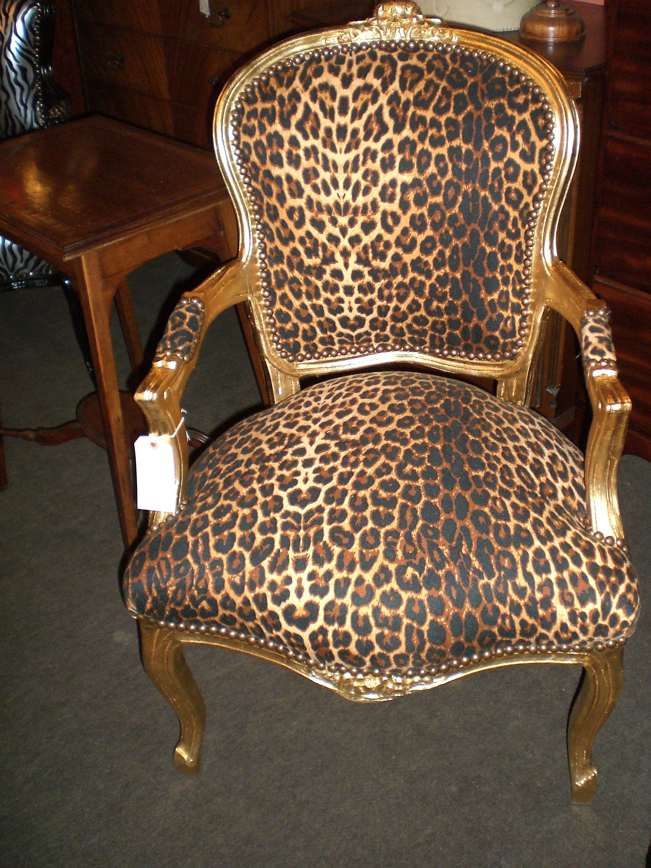 Bon Glamorous Animal Print Accent Chairs Collection : Fascinating Leopard Print  Fabric Chair Design Inspiration With Gold Painted Wooden Frame F.