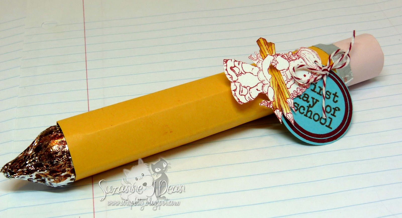 candy pencil made with roll of Mementos, Hershey Kiss and