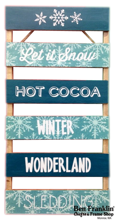 Use Vinyl Quotes and Words to express yourself! We can even custom make them for you! Visit our Imaging Center for details.  LET IT SNOW, HOT COCOA, WINTER, WONDERLAND, SLEDDING. |   #DIY #crafts #Pallet