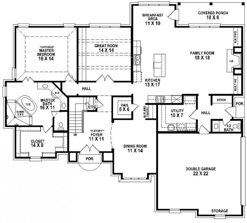 653906 Beautiful 4 Bedroom 3 5 Bath House Plan With