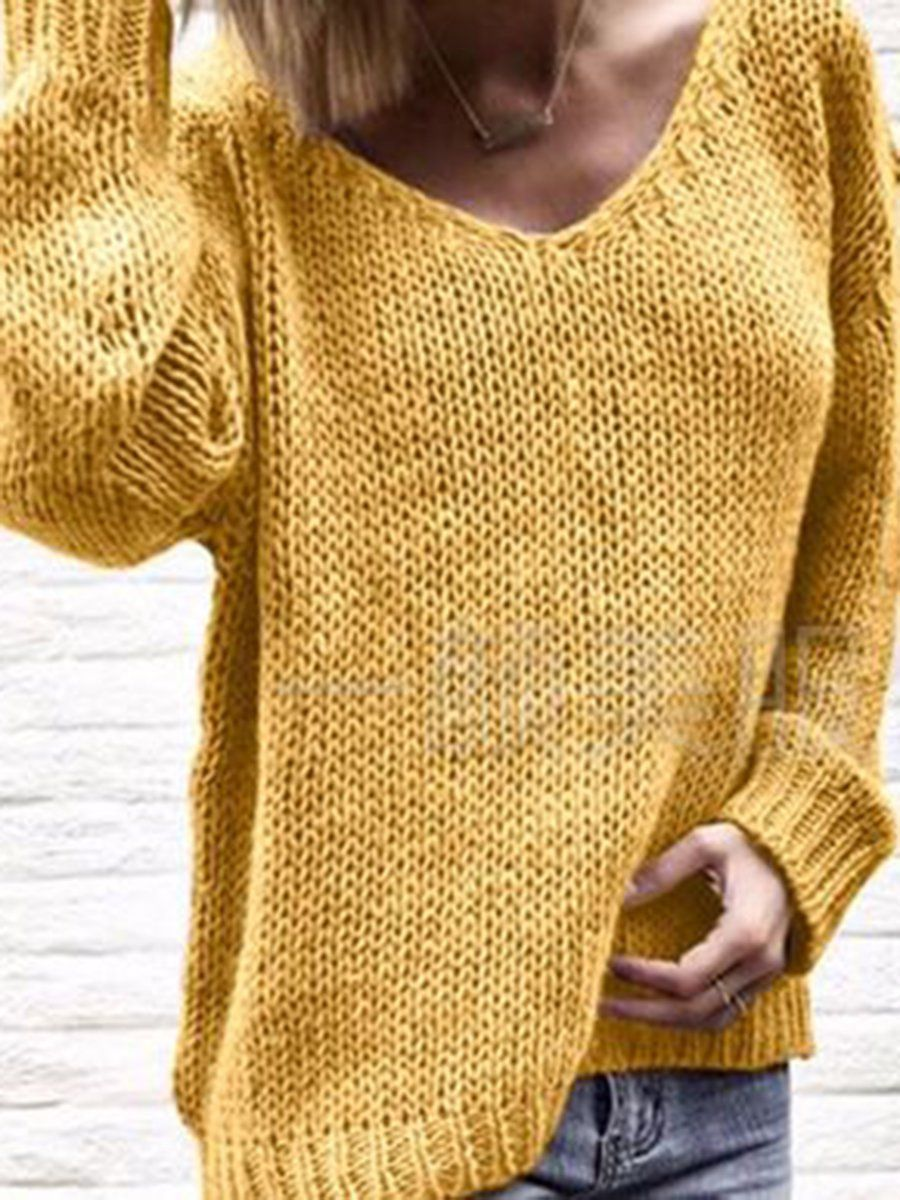 Plain Casual V Neck Knit Wear Women's Winter Soft Sweaters - JustFashionNow.com