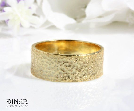 3f1ab962dfc8b 14k gold hammered mens wedding band, 7mm handcrafted simple textured ...