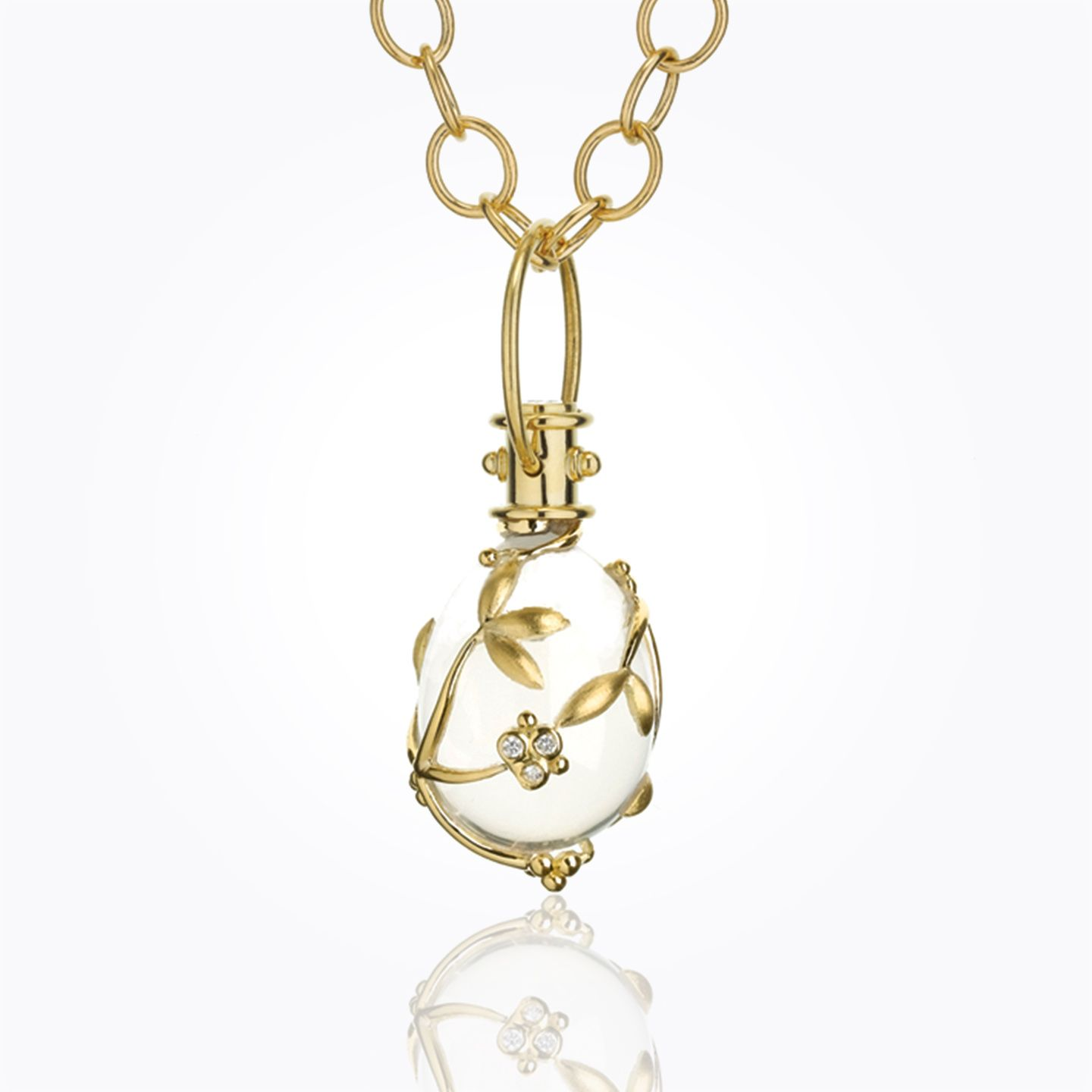 Temple St. Clair 18K Yellow Gold Vine Amulet with Rock Crystal and Diamond - Laura Pearce Ltd.