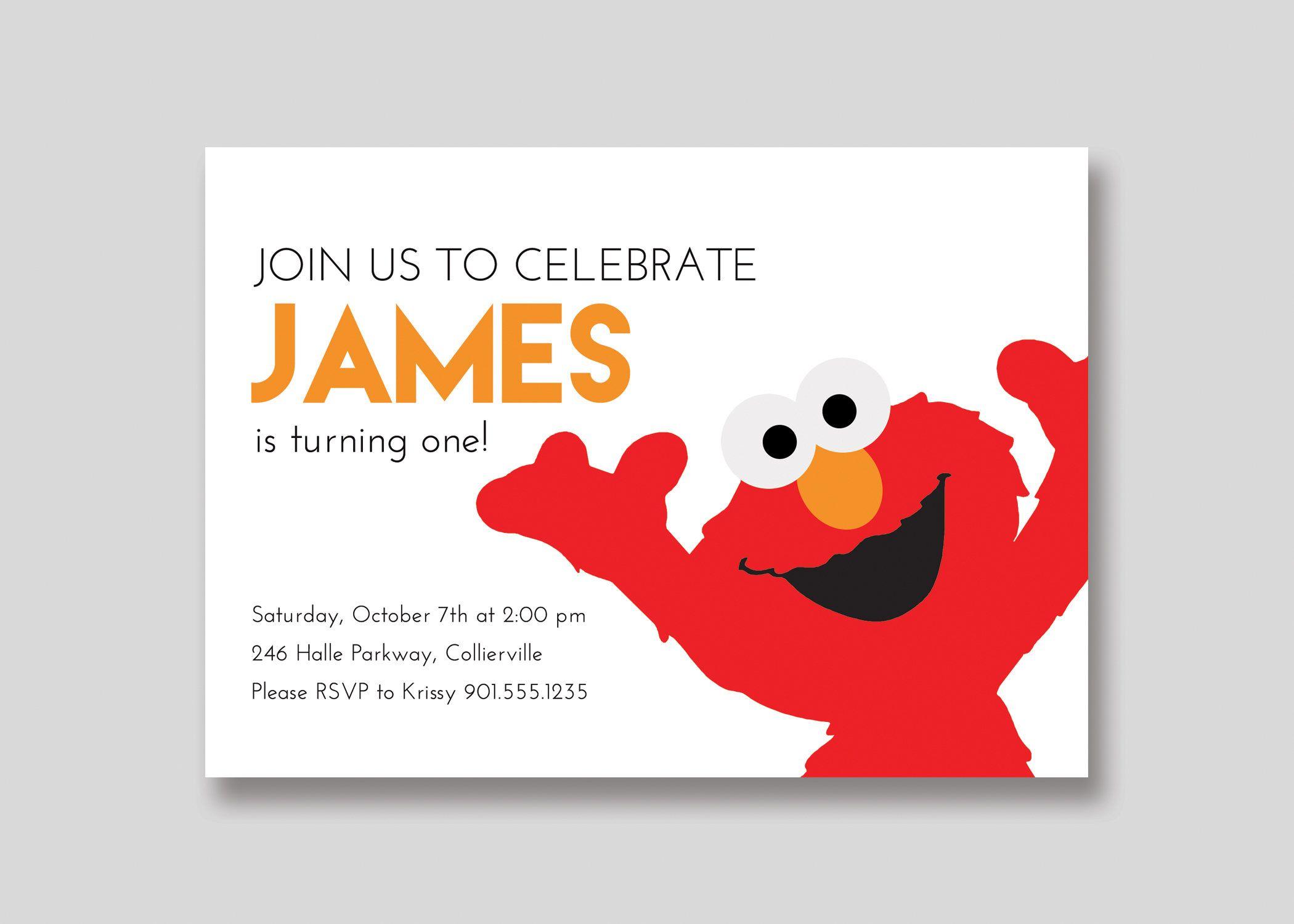 Elmo Sesame Street Birthday Invitation - Custom DIY Printable by ...