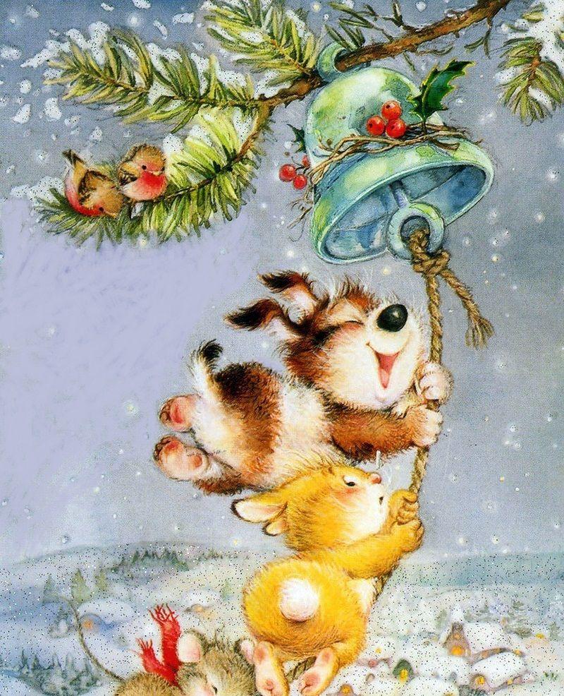 Рождество открытки веселые