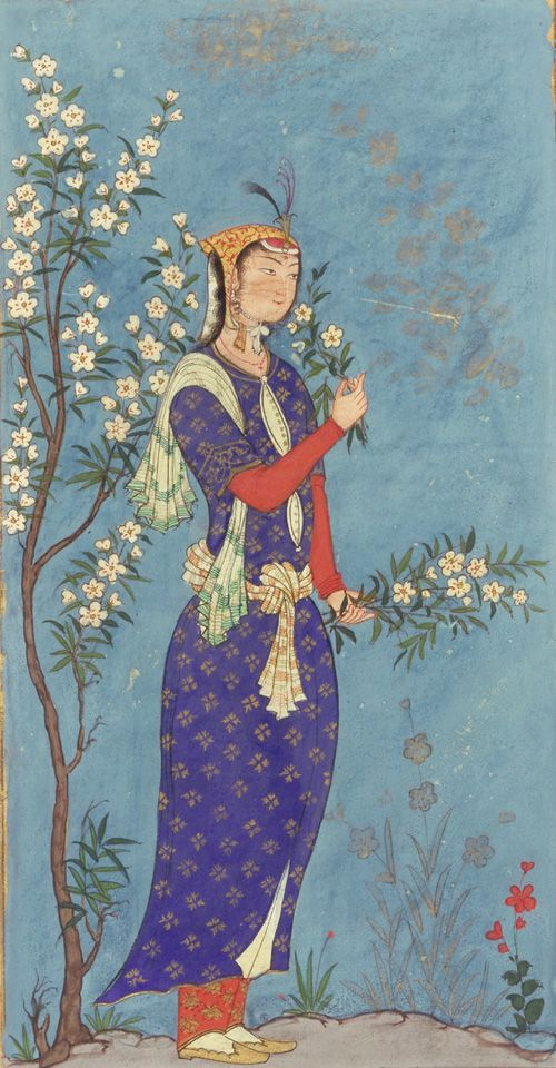 Woman with a Spray of Flowers, painted in Iran, c.1575 (source).  The border around this painting contains a short poem dedicated to the beloved. How long are you going to wound me with grief? Keep me wondering in the lane of separation?  If in the end you will raise me from dust, why do you cast me away like an arrow?