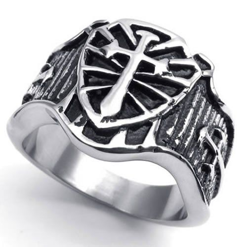 Amazon.com: KONOV Jewelry Vintage Stainless Steel Celtic Medieval Cross Sword and Shield Men's Ring , Color Silver & Black