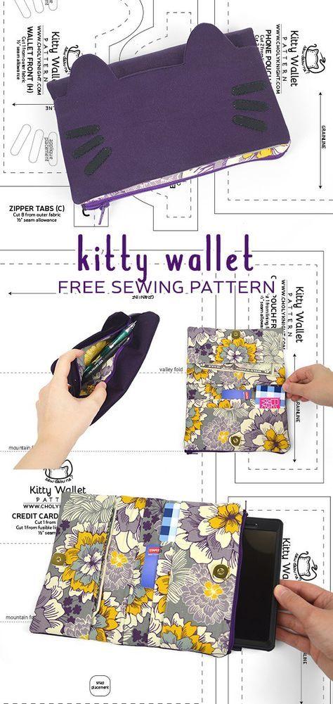 Tutorial and pattern: Kitty wallet | Costura | Costura, Costura ...