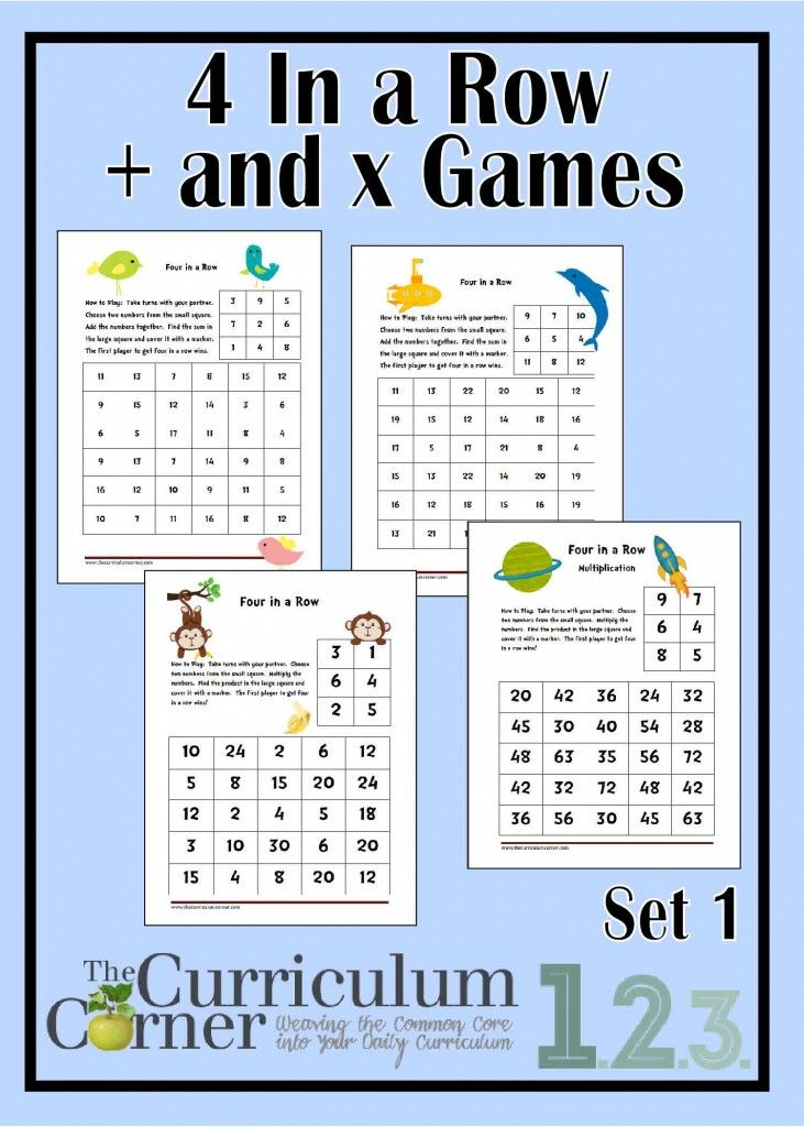 4 In A Row Spring Addition Multiplication Games Multiplication