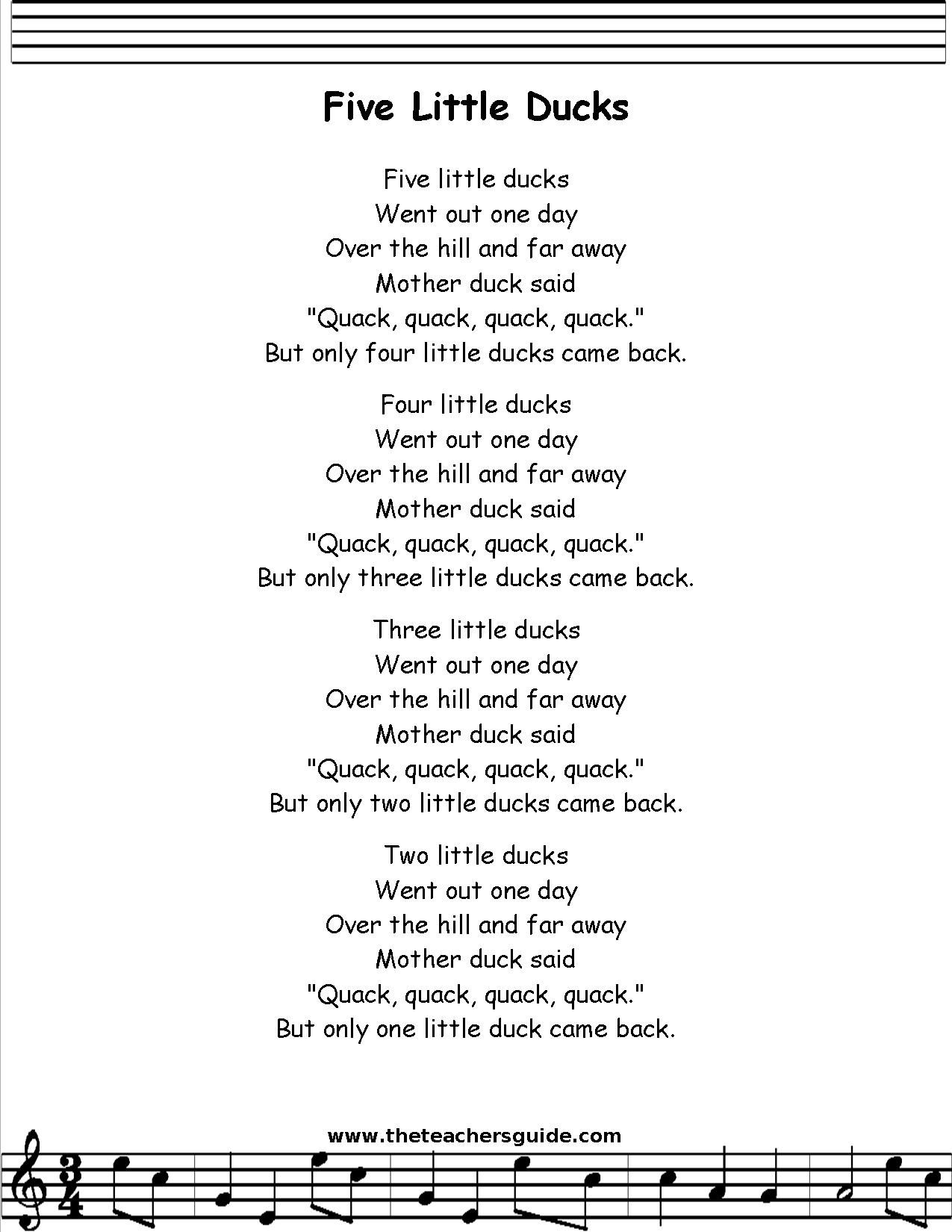Five Little Ducks Lyrics Printout