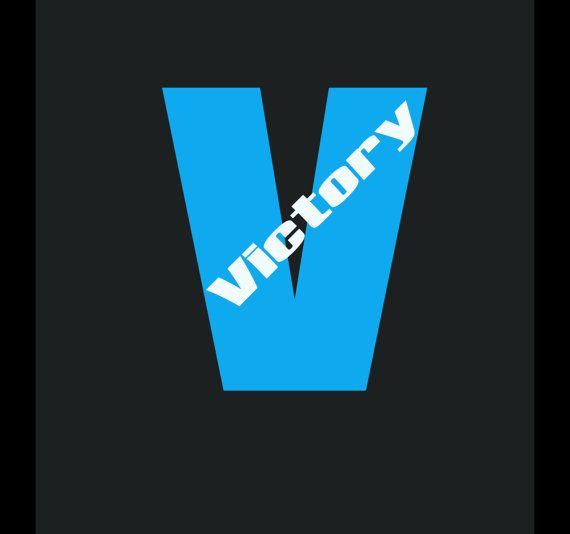 Big V Victory Vinyl Lettering Decal Outdoor Vinyl UV Resistant - Custom made window decals