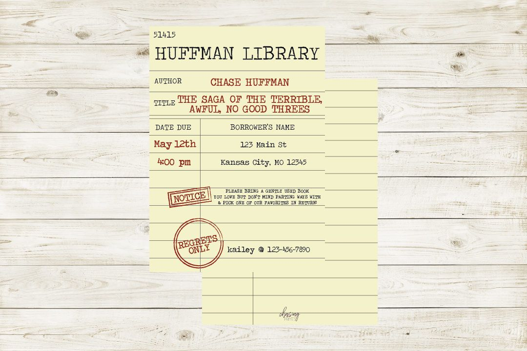 Printable Library Card Invitation With Optional Customization
