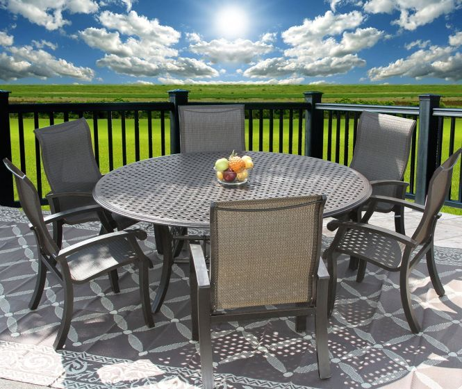 barbados sling outdoor patio 7pc dining set for 6 person