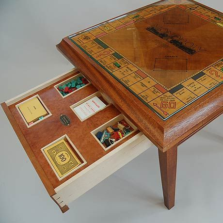 Perfect Milburn Mahogany Monopoly Table: Brief   To Convert 20 Year Old Wooden  Monopoly Board Into A Games Table With Drawer For Pieces.