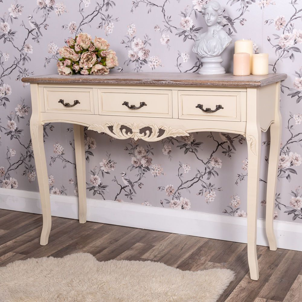 Cream Dressing Table  Drawer Ornate Console Bedroom Hallway