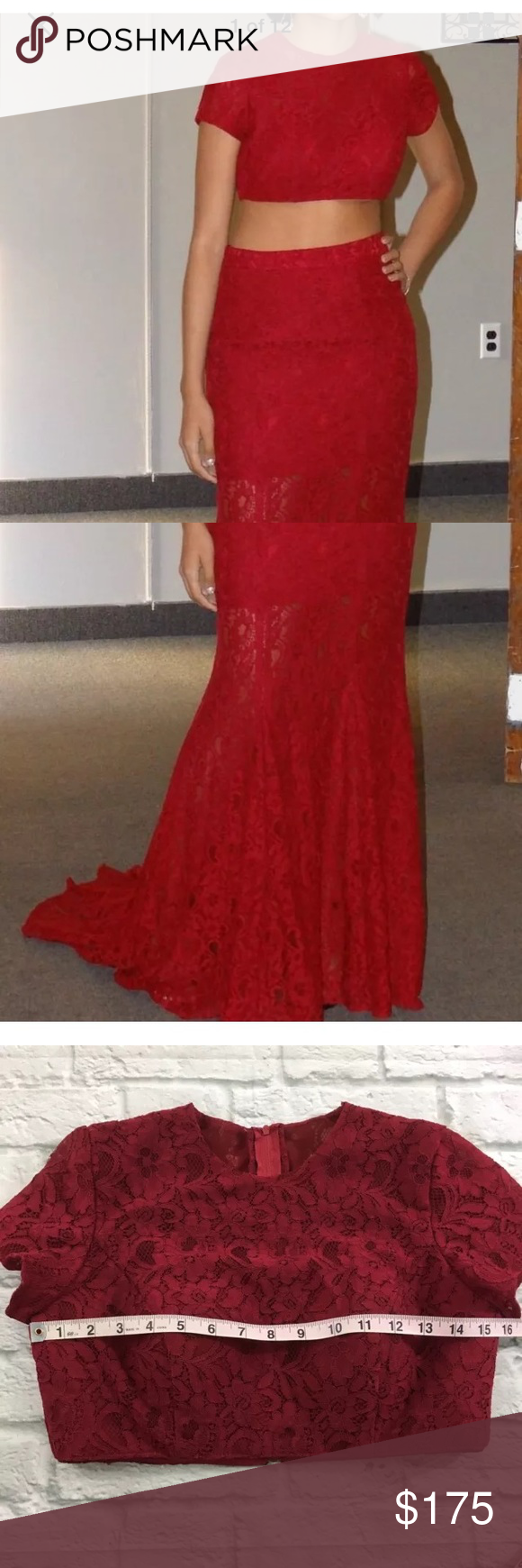 Crop top burgundy lace prom dresses my posh closet pinterest